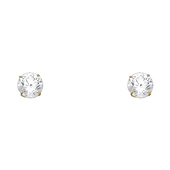 14K Yellow Gold 6mm Round Cut Cubic Zirconia Silicone Push Back Stud Earrings