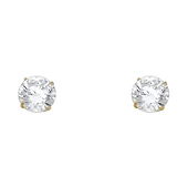 8mm 14K Yellow Gold Round Cut CZ Stud Earrings