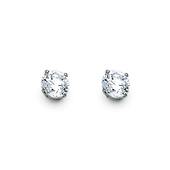 4mm 14K White Gold Round CZ Solitaire Stud Earrings