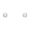 14K White Gold 6mm Round Cut Cubic Zirconia Silicone Push Back Stud Earrings
