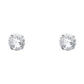 8mm 14K White Gold Round CZ Solitaire Stud Earrings
