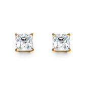 14K Yellow Gold 1.50CTW Princess Cut Cubic Zirconia Stud Earrings