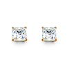 14K Yellow Gold 5mm Princess Cut Cubic Zirconia Silicone Push Back Stud Earrings