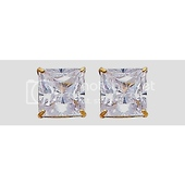 7mm 14K Yellow Gold Princess Cut Cubic Zirconia Stud Earrings