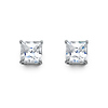 14K White Gold 5mm Princess Cut Cubic Zirconia Silicone Push Back Stud Earrings