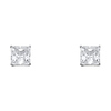 14K White Gold 7mm Princess Cut Cubic Zirconia Silicone Push Back Stud Earrings