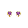 14K Yellow Gold 5mm Heart Bezel Set February CZ Birthstone Stud Earrings (Amethyst, Purple)
