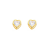14K Yellow Gold 5mm Heart Bezel Set April CZ Birthstone Stud Earrings (White Topaz)