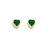14K Yellow Gold 5mm Heart Bezel Set May CZ Birthstone Stud Earrings (Emerald, Green)