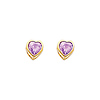 14K Yellow Gold 5mm Heart Bezel Set June CZ Birthstone Stud Earrings (Alexandrite, Light Purple)