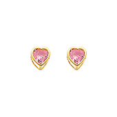 5mm Heart 14K Yellow Gold Pink Tourmaline CZ October Birthstone Stud Earrings