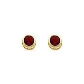 14K Yellow Gold Round Garnet CZ January Birthstone Stud Earrings