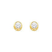 5mm 14K Yellow Gold White Topaz CZ April Birthstone Stud Earrings
