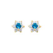 14K Yellow Gold Flower Tanzanite CZ December Birthstone Stud Earrings