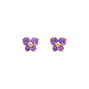 14K Yellow Gold February CZ Birthstone Butterfly Stud Earrings (Amethyst, Purple)