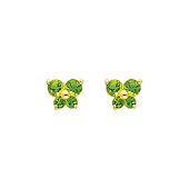 14K Yellow Gold Peridot CZ August Birthstone Butterfly Stud Earrings