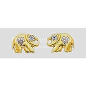 14K Yellow Gold Elephant Heart CZ Stud Earrings