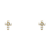 Mini 14K Yellow Gold Cross CZ Stud Earrings