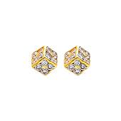 14K Yellow Gold Cube CZ Stud Earrings