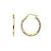 14K Yellow Gold 2mm Thickness Diamond-Cut Elegant Hinged Hoop Earrings (0.8