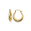 14K Yellow Gold 4mm Thickness Diamond Cut High Polished Fancy Cut Hoop Earrings (0.6