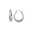 Fancy Thick Diamond-Cut Small 14K White Gold Hoop Earrings 4x15mm