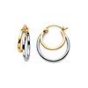 Elegant Double 4mm 14K Two Tone Gold Hoop Earrings 16mm