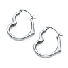 14K White Gold High Polished Small Heart  Earrings