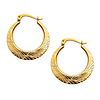 Diamond-Cut 14K Yellow Gold Hoop Earrings (2x20mm)