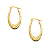 1.7mm Thick Diamond Cut/Polished Oval Hoop Earrings in 14K Yellow Gold