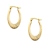 Diamond-cut 14K Yellow Gold Oval Hinged Earrings