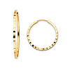 Multifaceted Squared Endless 1.5mm Small 14K Yellow Gold Hoop Earrings