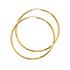 14K Yellow Gold 2mm Thickness Diamond Cut Satin/High Polished Elegant Endless Hoop Earrings  (2
