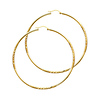 14K Yellow Gold 2mm Thickness Diamond Cut Satin/High Polished Elegant Hoop Earrings  (2.2