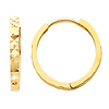 14K Yellow Gold 2mm Thickness Multifaceted Polished Square Hoop Huggies Earrings  (0.6