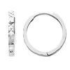 14K White Gold 2mm Thickness Multifaceted Polished Square Hoop Huggies Earrings   (0.6' or 15mm)