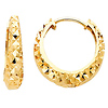 14K Yellow Gold 3mm Thickness Multifaceted Polished Oval Hoop Huggies Earrings   (0.6' or 15mm)
