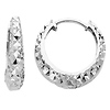 14K White Gold 3mm Thickness Multifaceted Polished Oval Hoop Huggies Earrings  (0.6' or 15mm)