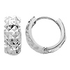 14K White Gold 5mm Thickness Multifaceted Polished Rounded Hoop Huggies Earrings  (0.3' or 7mm)