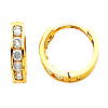 Small 14K Yellow Gold 2mm 5-Stone Channel Set CZ Huggie Earrings 10mm