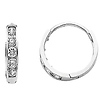 14K White Gold 2mm Thickness 5 Stone CZ Channel Set Polished Hoop Huggies Earrings   (0.4' or 10mm)