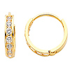 14K Yellow Gold 2mm Thickness 7 stone CZ Channel Set Polished Hoop Huggies Earrings   (0.5' or 12mm)