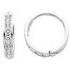 14K White Gold 2mm Thickness 7 stone CZ Channel Set Polished Hoop Huggies Earrings  (0.5' or 12mm)