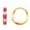 14K Yellow Gold 2mm Thickness 5 Stone Multi-Color Red CZ Channel Set Polished Hoop Huggies Earrings  (0.4' or 10mm)