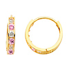 6-Stone Channel Set Pink & White CZ 14K Yellow Gold Huggies Earrings