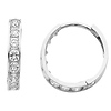 CZ Channel Set 3mm 14K White Gold Huggie Earrings (0.6