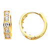 4mm 14K Yellow Gold 5-Stone Channel Set Round CZ Huggie Earrings