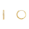 14K Yellow Gold 2mm Thickness Designer 10 Stone CZ Polished Hoop Huggies Earrings  (0.6' or 15mm)