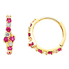 14K Yellow Gold 4mm Thickness Designer Round Red CZ Polished Hoop Huggies Earrings (0.5' or 13mm)