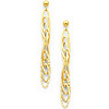 14K Yellow Gold Fancy Dangle Hanging Earrings with Pushback